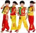 Crianças roupas meninos e gilrs dança popular Chinesa Kung Fu Novo Show de Dança Nacional roupas Dragão tambor estilo folk