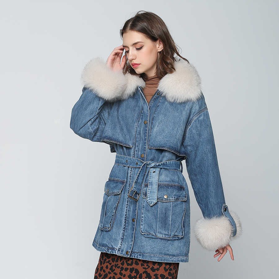 ea213fc4f97f ... OFTBUY 2019 winter jacket women long denim coat real fox fur collar  with 90% white ...