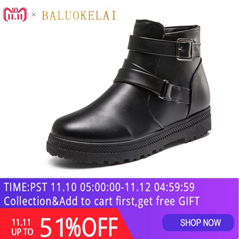 Autumn and Winter Snow Short Boots Women Vintage Europe Star Fashion Women Flats Heels Buckles Zip Ankle Boots K-151 pu buckles back zip ankle boots page 3