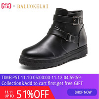 Autumn and Winter Snow Short Boots Women Vintage Europe Star Fashion Women Flats Heels Buckles Zip Ankle Boots K 151