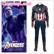 цена Avengers 4 Endgame Captain America Cosplay Costume Outfit Captain America Steve Rogers Superhero Jumpsuit Custom Made Full Set онлайн в 2017 году