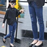 Girls Autumn Classic Break Hole Stretch Tight Pants Jeans Long Kids Trousers Denim Black Blue Tassel