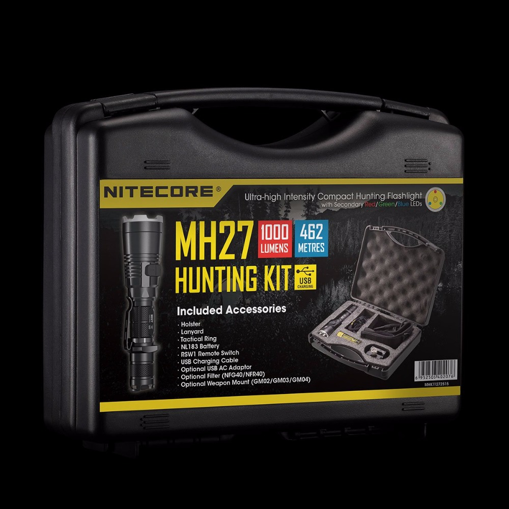 Wholesale NITECORE MH27 MH17UV HUNTING KIT 1000LM 4xLEDS Hightlight Gear Hunting Military Search Lantern Flashlight BoxSets