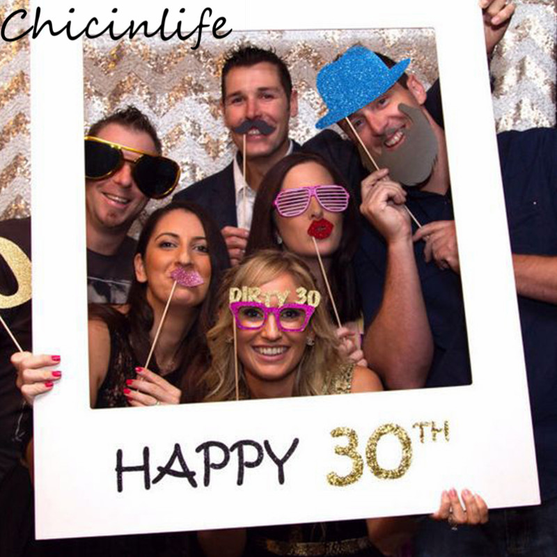 Chicinlife 1Pcs Happy 30th 40th 50th <font><b>60th</b></font> Photo Booth Frame Props Adult <font><b>Birthday</b></font> Party Photobooth Anniversary <font><b>Decoration</b></font> Supplie image