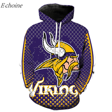 Echoine Vikings American Football Hoodies Men's Long Sleeve Pockets Hooded Sweatshirts High Quality Excercise Sweater Sportswear