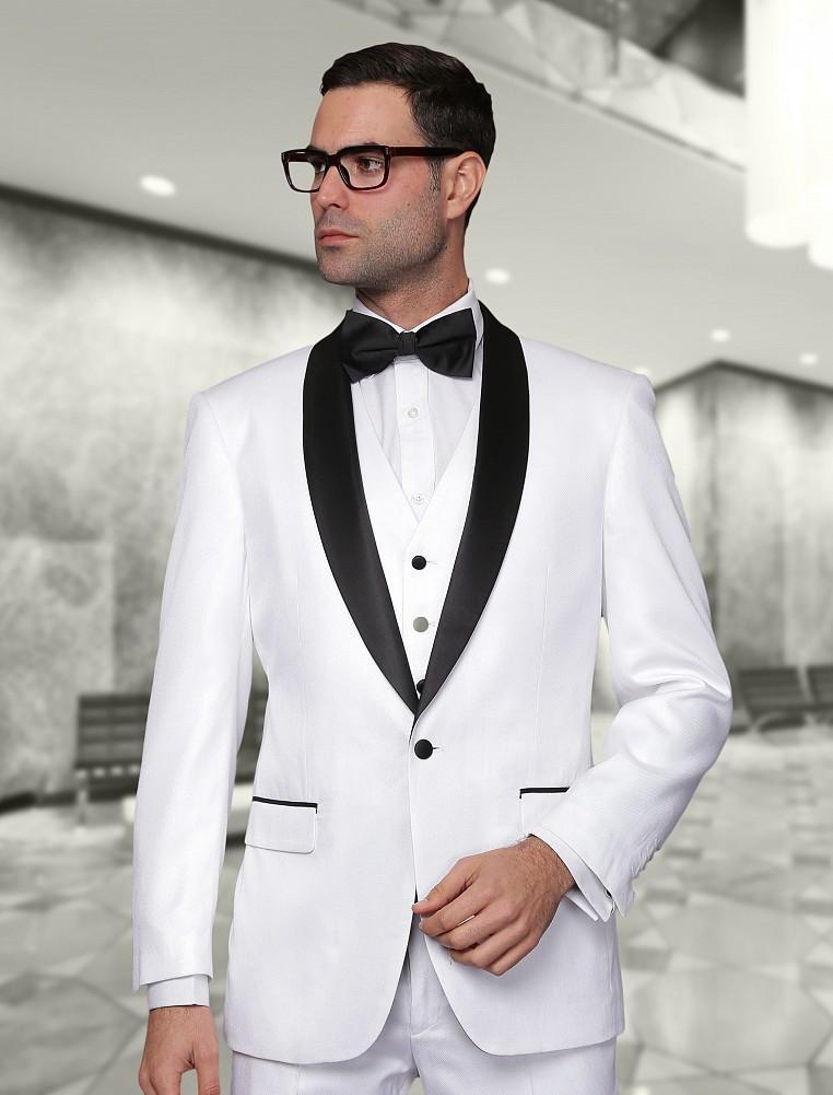 2015 Recién Llegado de Blanco Mantón de la solapa Del Esmoquin Negro trajes de Boda Trajes