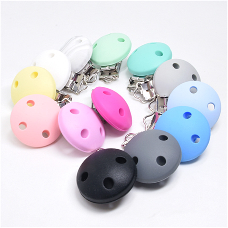1 PC Round Shaped Silicone Nipple Holder Pacifier Clips Baby Teething Chewable Toys BPA Free DIY Pacifier Chain Accessories