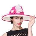 Junio de mujeres jóvenes sombreros de ala ancha sombreros grandes estampado de flores 100% Sinamay elegante Material de señora Summer Party dom Derby sombreros de ala