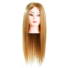 23inch Golden Hair Hairdressing Doll Heads Mannequins Salon Hair Styling Training Head Mannequin With Holder 40% human hair mannequin heads hairdressing training practice head hair styling mannequins doll heads