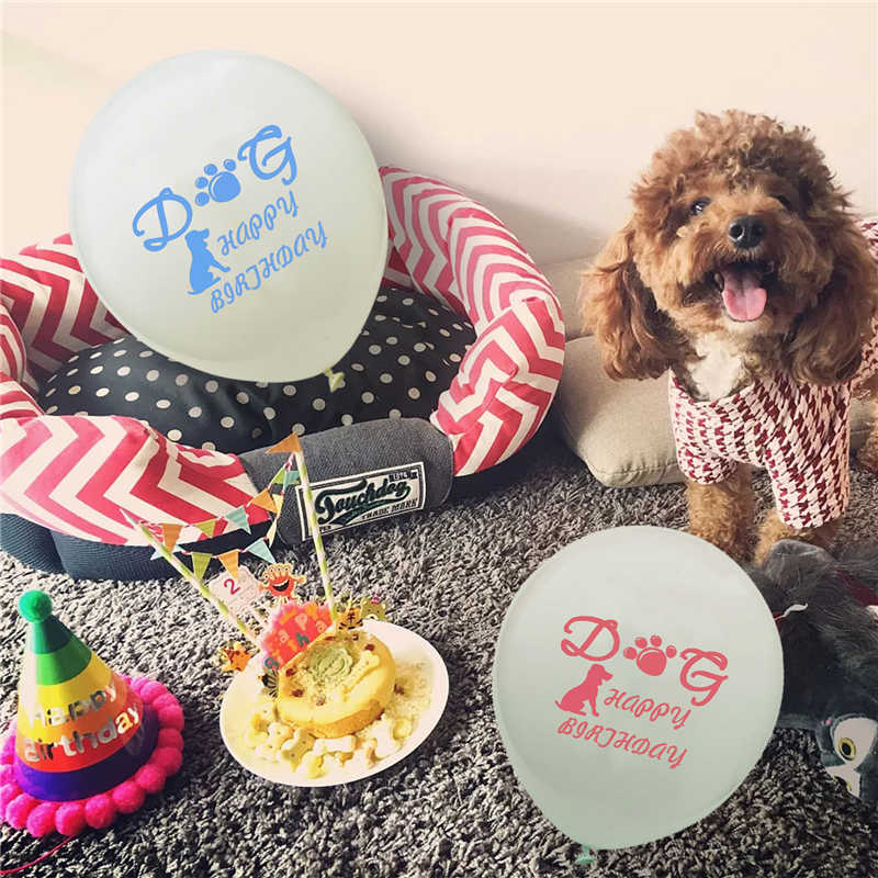VOILEY Pet Puppy Balloon Dog Birthday Baloons Pink Blue Toys For Dogs Supplies Accessories