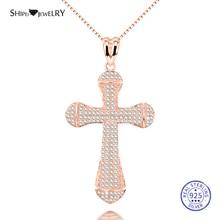 цена Shipei 100% 925 Sterling Silver White Sapphire Cross Pendant Fine Jewelry White Gold Rose Gold Yellow Gold Cross Necklace Women онлайн в 2017 году