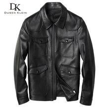 leather coat men Brand Rivet Motorcycle jacket New Arrivals Genuine sheepskin Fashion slim black Spring Leather Clothing 14S0082