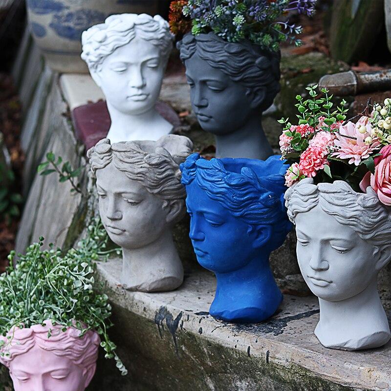 8 farbe Kreative Porträt Retro Kunst Vase Zement Kopf Blume Topf Venus Griechische Göttin Statue Vase Handwerk Dekoration Ins figuren-in Vasen aus Heim und Garten bei  Gruppe 1