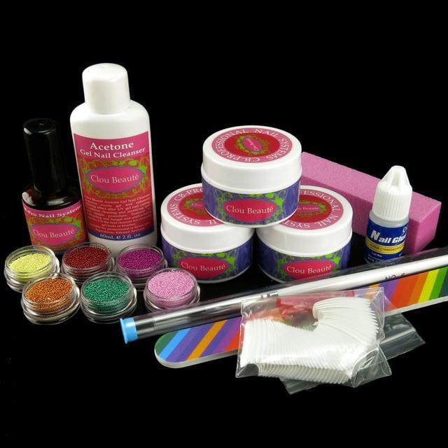 Nail Glue 6 X Varied Colors Beads UV GEL False Nail Pen Sanding File Topcoat Pink Buffer Block N049 Kits Set