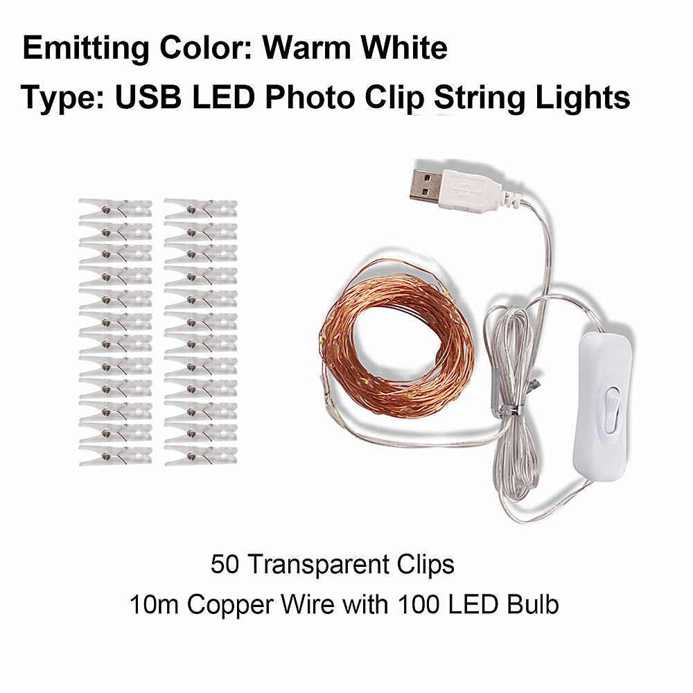 2 м/5 м/10 м фото клип USB светодиодный шнур рождественские фонари Открытый батарея работает гирлянда, рождественские украшения для вечеринки свадьбы Рождества