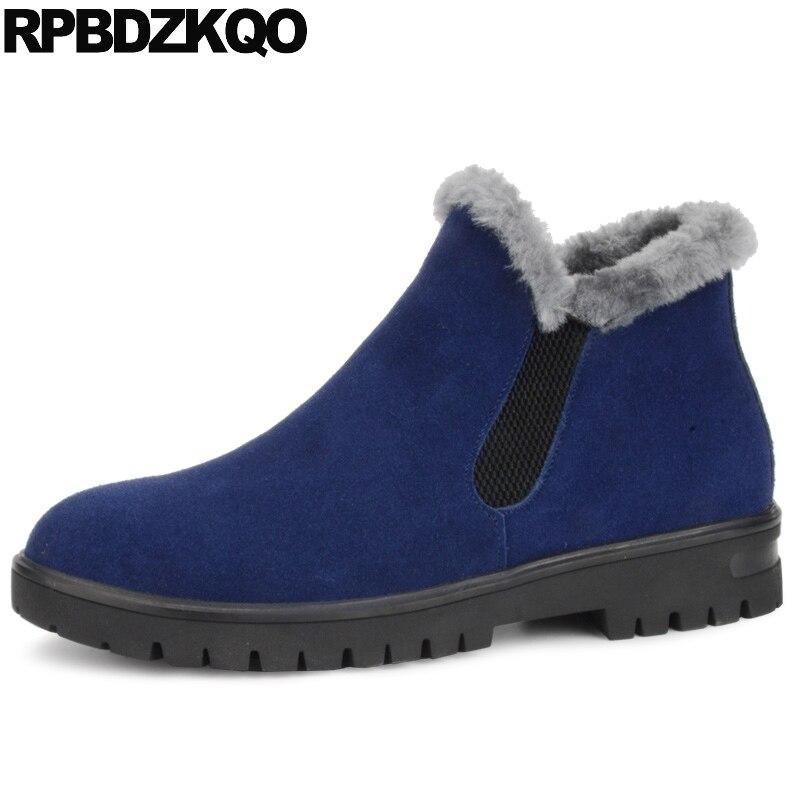 Fur Stylish Ankle Shoes Faux Short Winter Men Boots With Blue Snow Casual Plus Size Chelsea Suede Male 2017 Comfortable Footwear belt buckle faux fur suede short boots