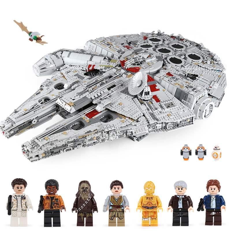 05132 8445Pcs Compatible Legoings Star Wars Ultimate Collector's Destroyer Millennium Falcon Building Blocks Toys
