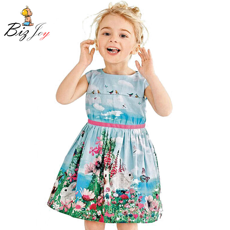 Flower Watercolor Grassland Bunny Floral Ruffle Sleeveless Dress Baby Toddler Girls Clothes Children Kids Femme Play Mats
