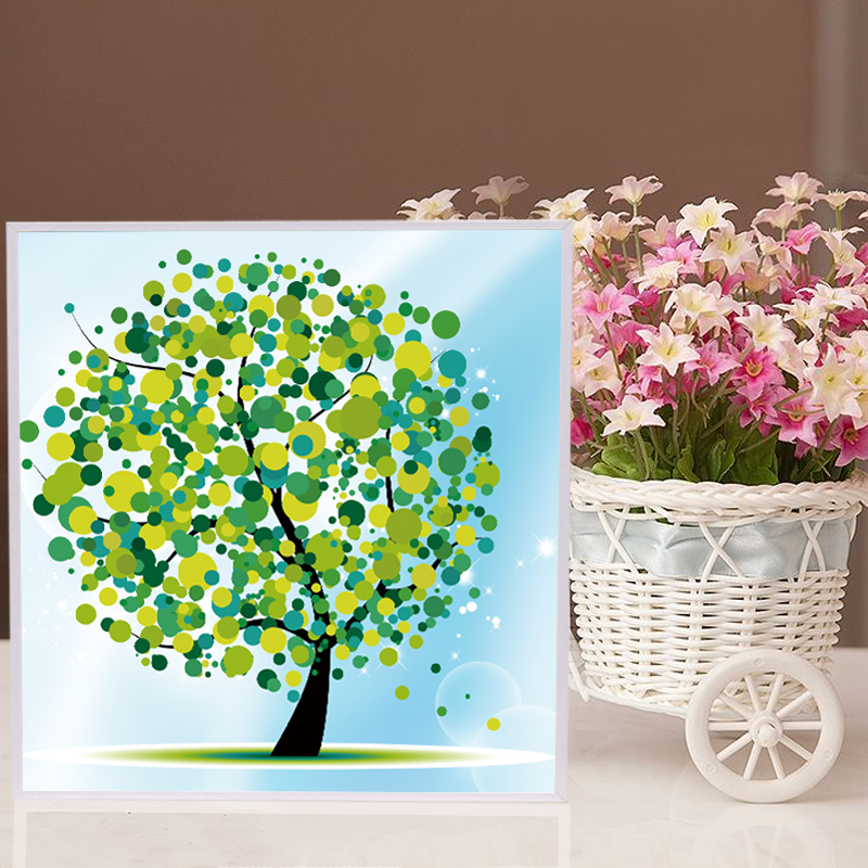 diamond puzzle painting resin material happy tree diy colorful nurture children children cartoon learning baby games nk053 - Preschool Painting Games