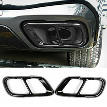 New 2pcs Steel Black Car Exhaust Mufflers Cover Trim For BMW  X5 G05 X7 G07 2019 2020