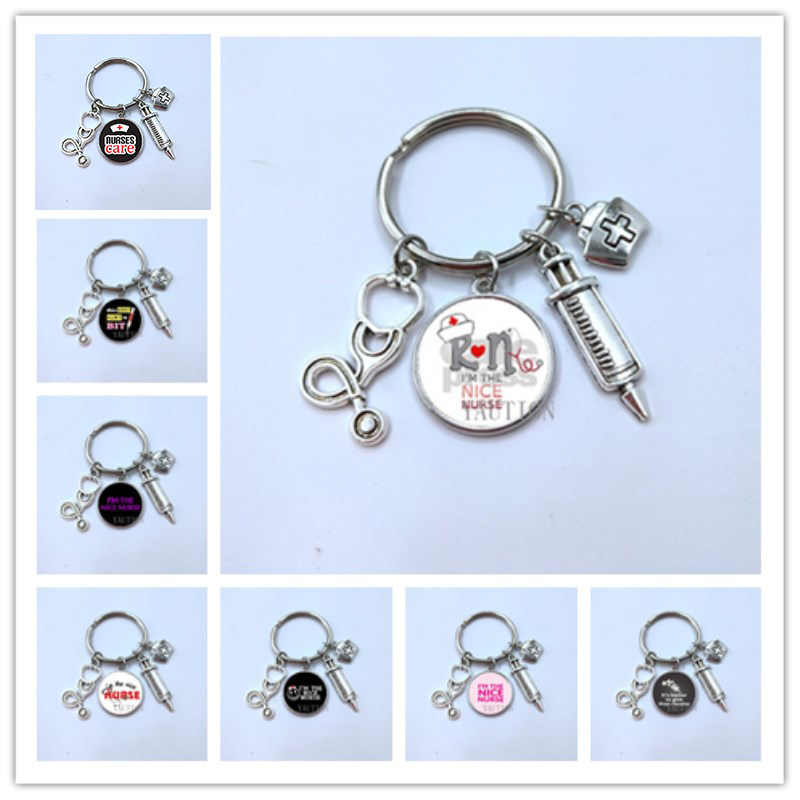 New fashion doctor nurse glass stethoscope alloy key ring medical bag men women key chain bag charm silver love souvenir gifts