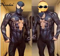 New 2018 Venom Symbiote Spiderman Costume Movie Venom Cosplay Marvel Black Zentai Suit Halloween Costumes For Men Adult