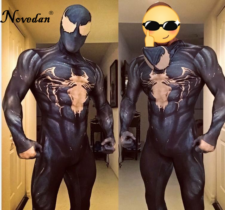 New 2018 Venom Symbiote Spiderman Costume Movie Venom Cosplay Marvel Black Zentai Suit Halloween Costumes For Men Adult