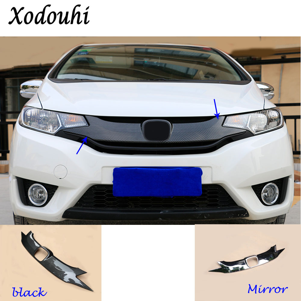 For Honda Fit jazz 2014 2015 2016 2017 car styling body ABS chrome License plate trim racing Grid Grill Grille hoods panel frame for toyota corolla altis 2014 2015 2016 car body styling cover detector abs chrome trim front up grid grill grille hoods 1pcs
