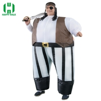 Inflatable Pirate Captain Fancy Dress Costume Fat Sumo Suit Blow Up Adult Pirates of the Caribbean Role Play Halloween Costumes