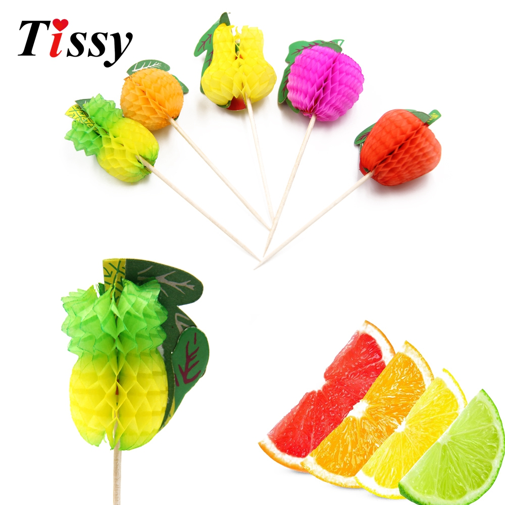 20PCS DIY Paper 3D Fruit Cake Topper Picks Drink Cup Decorations Summer/Birthday/Wedding Party Decoration Baby Shower Supplies