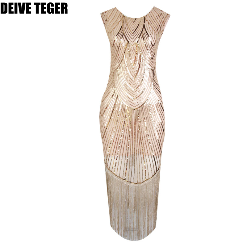 DEIVE TEGER geometric sequined vintage gold black tassels  Fashion Elegant  Vestidos Women tank Dress  BY306