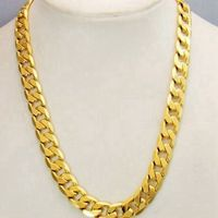 Massive Mens Solid 24k Yellow Gold Filled Necklace Cuban Chain 23 6