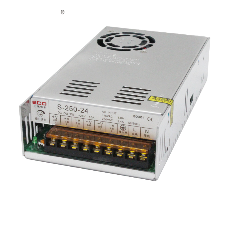 Switching Mode Power Supply S-250W-24V 10.4A Foot Power Electric Machinery Fan Monitor AC Change DC Package Postal switching mode power supply s 250w 24v 10 4a foot power electric machinery fan monitor ac change dc package postal