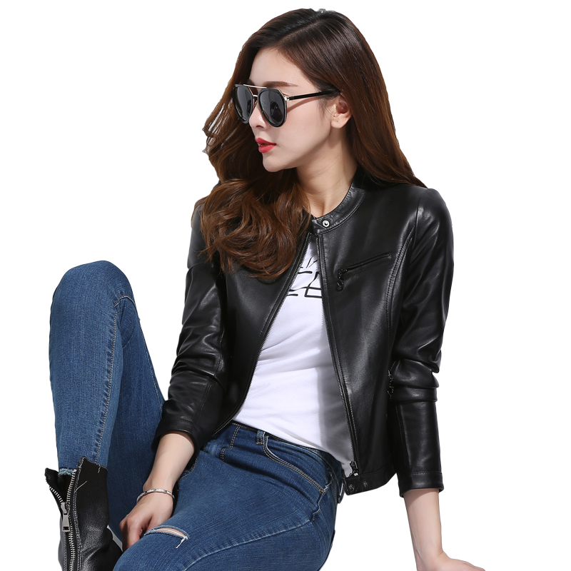 women motorcycle Clothing leather jacket Short Paragraph Spring Autumn New Pure leather high waist Sheepskin jacket motorcycle