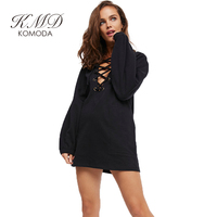 KMD KOMODA Woman Black Dress Autumn And Winter Padded Loose Large Size Dress Sexy Bedroom Home