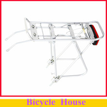 New Arrival !26 inch  Cycling Bicycle Bike Aluminum Alloy Silver Luggage Carrier Rear Rack 25kg Capacity with Red Rear Light