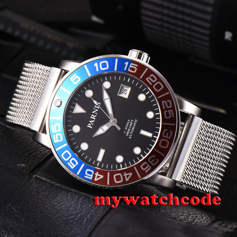 42mm parnis black dial blue & red bezel date miyota automatic mens watch P429B цена и фото