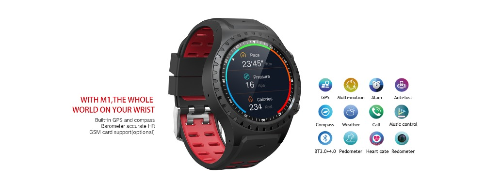LEMFO M1 Men's Bluetooth Smart Watch With GPS IP67 Waterproof Heart Rate Monitor And Long Standby Time 2