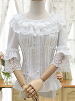 Anime wonder woman cosplay short white shirts Ladies lace Chiffon Gothic shirts butterfly blouse lolita costume Halloween blouse