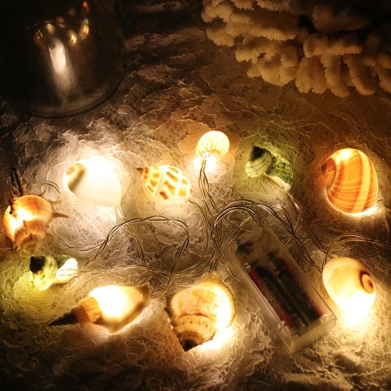 Livraison Gratuite (1 pcs/lot) Shell LED Guirlande Lumineuse Naturel Shell Plage De Mariage et Décorations De Noël À La Main Artisanat Partie fournitures