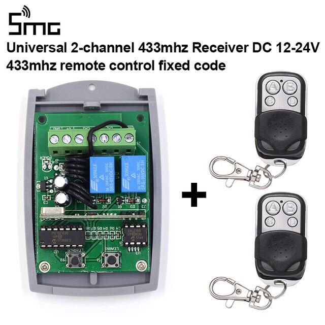 2 canais de rolamento & código fixo receptor 433.92mhz + 2 controles remotos 433mhz 1527 código de aprendizagem transmissor