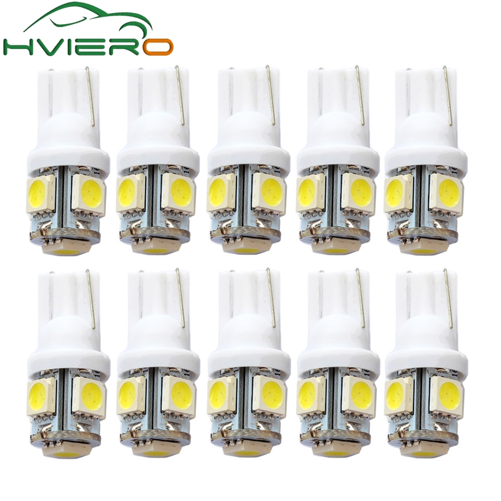 10Pcs White Red Blue T10 W5W 5050 5SMD Car LED Wedge Light 168 194 192 DC 12V License Plate Bulbs Marker Light Reading Dome Lamp t10 1w 6000k 20 lumen 2x 5050 smd led car white light bulbs pair dc 12v