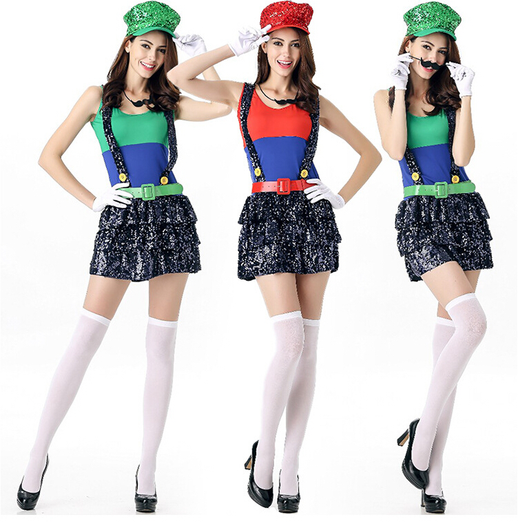 Free shipping Mario adult female halloween costume cosplay costume red and green free size