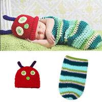 Hayvan tarzı yumuşak yenidoğan bebek fotoğraf sahne bebek şapka bebek cap bebek kız/boy giysi yenidoğan tığ kıyafetler uyku çanta