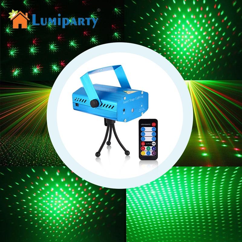 LumiParty Mini Stage de Lumière Effet LED Laser Projecteur Rouge Vert Étoiles vocale/Auto/Flash FDA Certifié pour Club Disco