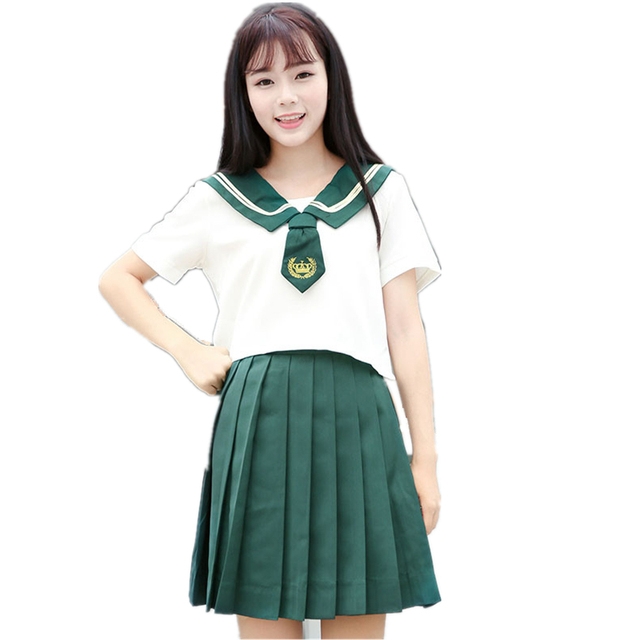 366e3f62bb School Class Uniform Pleated Skirt Green Sailor Costume Suits For Women  Japan Korean Student Girls Two-piece Suit For Cosplay