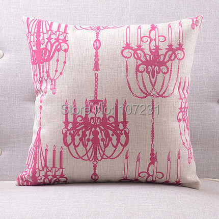 Square Vintage Retro 45cm x 45cm Home Decor Girls Pink French Chandelier Linen Cushion Cover