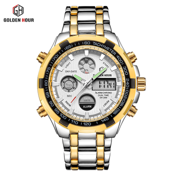 GOLDEN HOUR Men's Luxury Dual Display Analog & Digital Waterproof Chronograph Date Quartz Watches 2