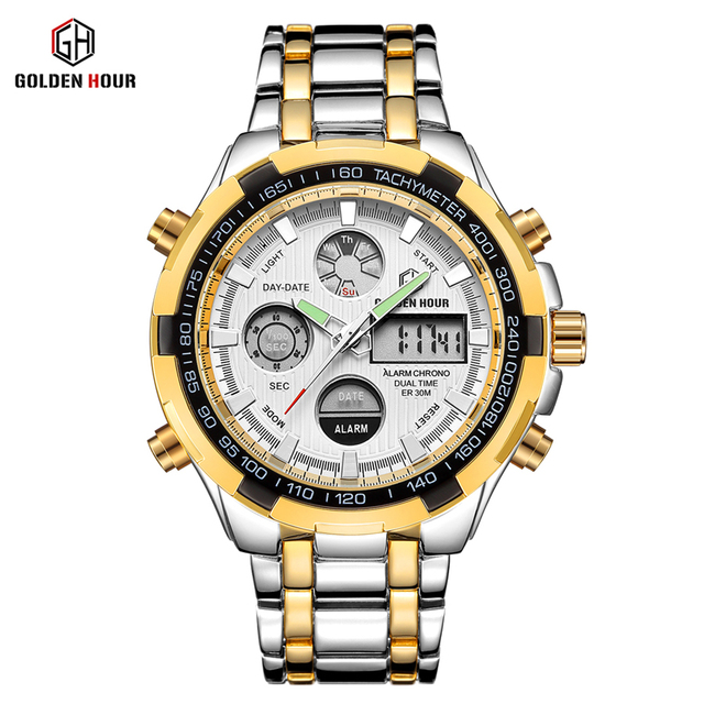GOLDENHOUR Steel Business Men Watches Fashion Men Quartz Watch Date Week Display Wristwatch Analog Waterproof Male Clock Relogio