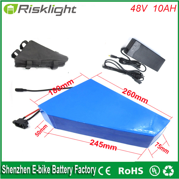Free customs duty 48v 750w bafang bbs02 triangle ebike lithium battery 48v 10ah electric bike battery with BMS +bag and charger or02b1 48v 10ah lithium battery with 3a charger and heat shrinkable film ce electric bike kit